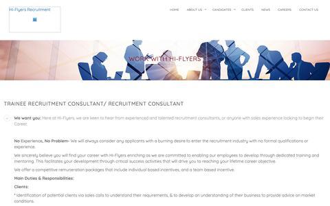 Screenshot of Jobs Page hi-fly.org - Recruitment Consultant Job Preston: Hi-Flyers Recruitment Preston - captured Dec. 15, 2018