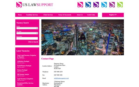 Screenshot of Contact Page uslawsupport.co.uk captured March 17, 2016