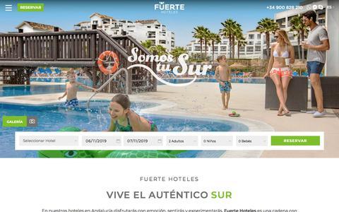 Screenshot of Home Page fuertehoteles.com - Vacaciones Costa del Sol, Fuerte Hoteles y Apartamentos Andalucia - captured Nov. 6, 2019