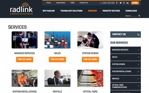 Screenshot of Services Page radlink.com.au - Services | Radlink Communications - captured Nov. 28, 2016