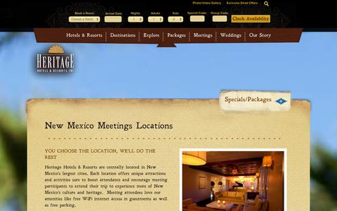Screenshot of Locations Page hhandr.com - Albuquerque, Santa Fe, Las Cruces Meeting & Venue Locations | Heritage Hotels & Resorts - captured Oct. 2, 2014