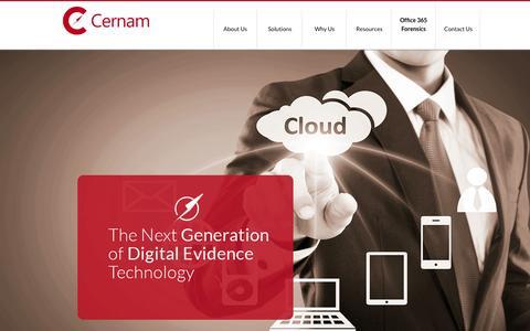 Screenshot of Home Page cernam.com - Cernam - The Next Generation of Digital Evidence Technology - captured Sept. 19, 2015