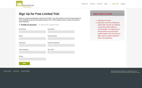 Screenshot of Trial Page boardroominsiders.com - Executive Profiles - Free Database Trial - captured Sept. 30, 2014