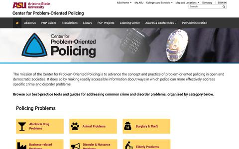 Screenshot of asu.edu - Center for Problem-Oriented Policing | Center for Problem-Oriented Policing - captured Dec. 14, 2018