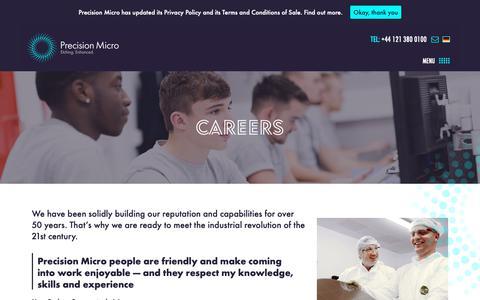 Screenshot of Jobs Page precisionmicro.com - Careers - Precision Micro - captured Nov. 22, 2018
