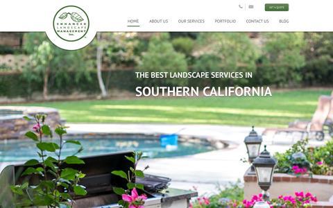 Screenshot of Home Page enhancedlandscape.com - Enhanced Landscape | Lanscape Services in Southern California - captured Sept. 17, 2015