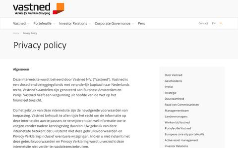 Screenshot of Privacy Page vastned.com - Privacy policy   Vastned - captured June 11, 2017