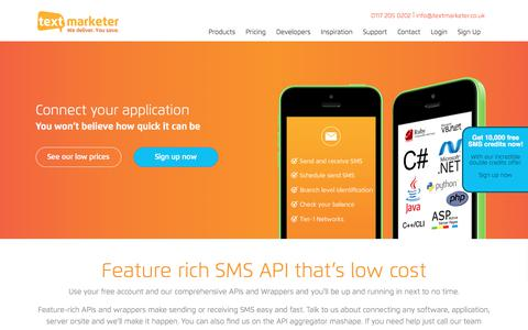 Screenshot of Developers Page textmarketer.co.uk - SMS API For Developers - Text Marketer - captured Aug. 8, 2019