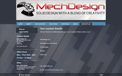 Screenshot of Contact Page mechdesign.co.uk - - CONTACT US - captured Oct. 27, 2014