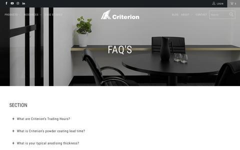 Screenshot of FAQ Page criterionindustries.com.au - FAQs - Criterion Industries - captured Nov. 5, 2018
