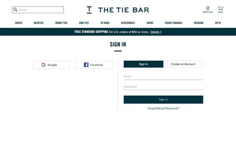 The Tie Bar - Shopping Cart Sign In