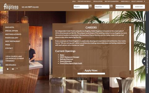 Screenshot of Jobs Page hotelangeleno.com - Los Angeles Careers and Employment Opportunities - captured Sept. 30, 2014