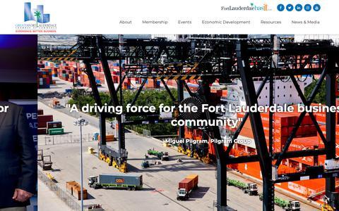 Screenshot of Home Page ftlchamber.com - Ft. Lauderdale Chamber of Commerce - Ft. Lauderdale Chamber of Commerce - captured Sept. 30, 2018