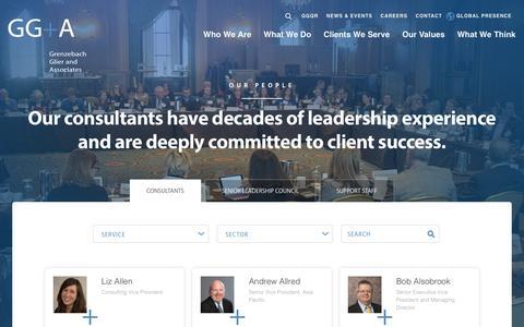 Screenshot of Team Page grenzebachglier.com - Philanthropy Consultants | GG+A - captured Sept. 30, 2018