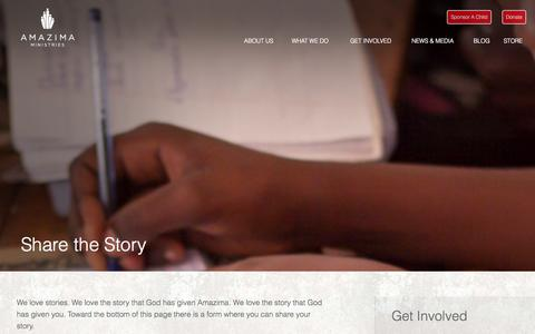 Screenshot of Contact Page amazima.org - Share the Story | Amazima Ministries - captured Sept. 22, 2014