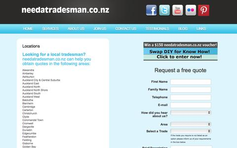 Screenshot of Locations Page needatradesman.co.nz - Free Quotes - needatradesman.co.nz | Find the best tradesmen in your area | Locations - captured Oct. 26, 2014