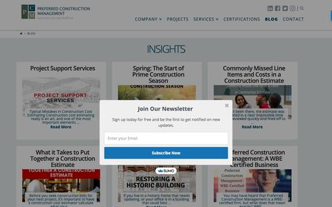Screenshot of Blog pcmcompany.com - Insights   Latest In Construction News & Trends, Construction Materials Costs - captured Sept. 28, 2018