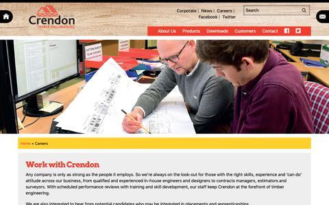 Screenshot of Jobs Page crendon.co.uk - Job Vacancies and Careers   Crendon Timber Engineering - captured Sept. 30, 2018