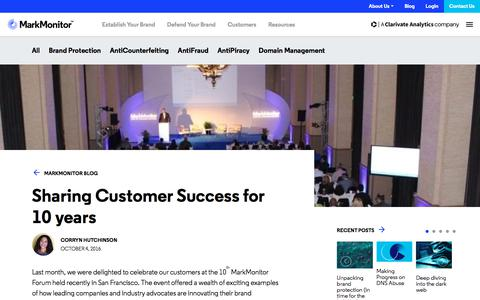 Screenshot of Case Studies Page markmonitor.com - Sharing Customer Success for 10 years - MarkMonitor - captured Jan. 13, 2020
