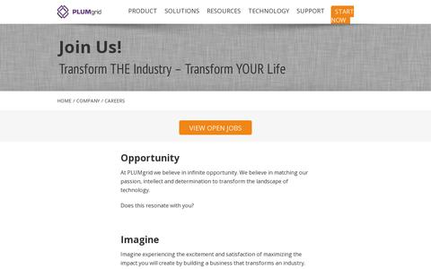 Screenshot of Jobs Page plumgrid.com - PLUMgrid   –  Careers - captured July 18, 2014