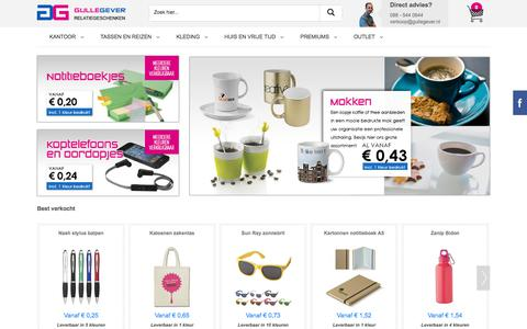 Screenshot of Home Page gullegever.nl - Relatiegeschenken Bedrukken | Gulle Gever - captured Sept. 10, 2017