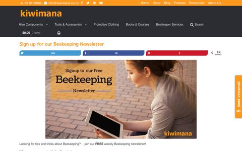 Screenshot of Signup Page kiwimana.co.nz - Sign up for our Beekeeping Newsletter - captured June 9, 2017