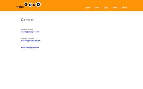 Screenshot of Contact Page watzzgood.com - watzzGOOD - We Connect People thru Calendar - captured Oct. 27, 2014