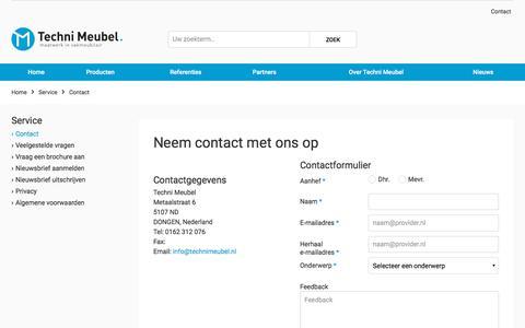 Screenshot of Contact Page technimeubel.nl - Contact - captured Oct. 27, 2017
