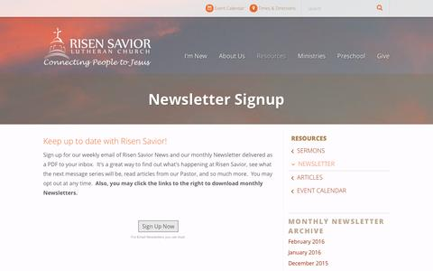 Screenshot of Signup Page rslcs.org - Newsletter Signup | Risen Savior Lutheran Church - captured Feb. 15, 2016