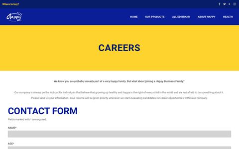 Screenshot of Jobs Page happyproductspr.com - Careers – Happy Products - captured Sept. 27, 2018