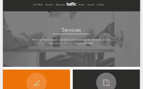 Screenshot of Services Page traffic-design.co.uk - Our Services - Traffic Design Glasgow - captured Nov. 4, 2014