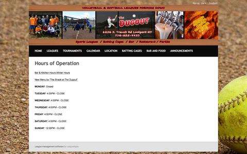 Screenshot of Hours Page dugoutbarsports.com - Hours of Operation : The Dugout Bar & Sports Complex - captured Nov. 30, 2016