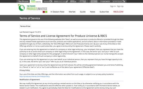 Screenshot of Terms Page produceuniverse.com - Produce Universe - Terms of Service - captured Sept. 30, 2014