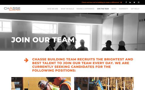 Screenshot of Signup Page Jobs Page chasse.us - Careers - CHASSE BUILDING TEAM - captured Nov. 9, 2018