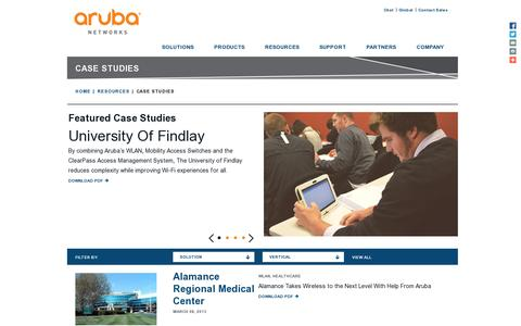 Screenshot of Case Studies Page arubanetworks.com - Case Studies | Aruba Networks - captured July 20, 2014
