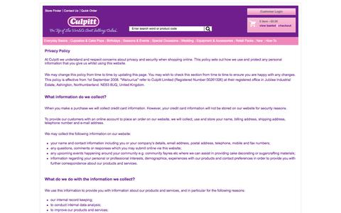 Screenshot of Privacy Page culpitt.com - Privacy Policy - captured Sept. 23, 2014