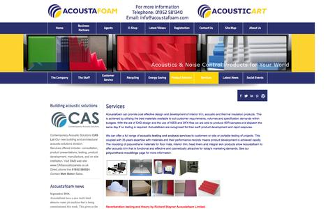 Screenshot of Services Page acoustafoam.com - Acoustafoam | Design & Development | Our Services - captured Oct. 4, 2014