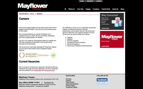 Screenshot of Jobs Page mayflower.org.uk - Careers - Mayflower Theatre, Southampton - captured Oct. 27, 2014