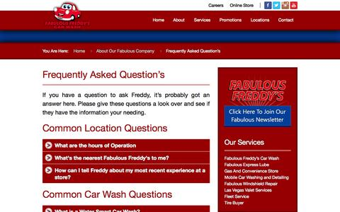Screenshot of FAQ Page fabfred.com - Fabulous Frequently Asked Questions | Fabulous Freddy's | (702) 933-5374 - captured Oct. 5, 2014