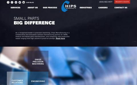 Screenshot of Home Page chipsmfg.com - Precision CNC Machinig, Custom Machining Parts | Chips Manufacturing - captured Jan. 27, 2016