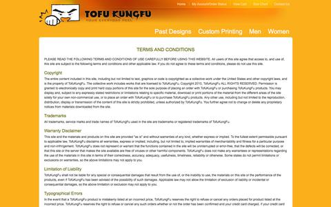 Screenshot of Terms Page tofukungfu.com - Terms and Conditions - captured Aug. 16, 2016