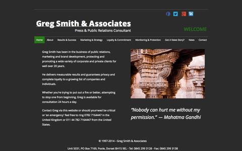 Screenshot of Home Page gregsmith.eu - Home - Greg Smith & Associates - captured Oct. 3, 2014