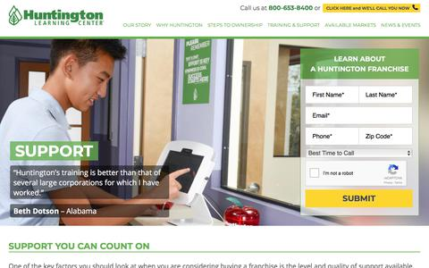 Screenshot of Support Page huntingtonfranchise.com - Huntington Franchise Business Support - Huntington Learning Center - captured Jan. 26, 2018