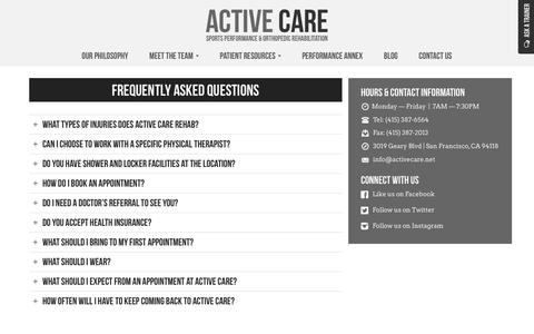 Screenshot of FAQ Page activecare.net - Frequently Asked Questions - Active Care - captured Oct. 1, 2014