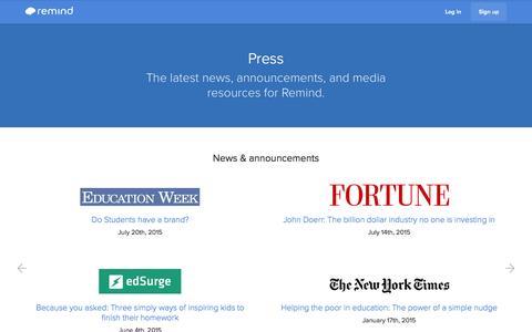 Screenshot of Press Page remind.com - Press | Remind - captured Nov. 25, 2015