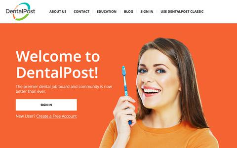 Screenshot of Home Page dentalpost.net - Dental Jobs - DentalPost, job search and listings for dental jobs - captured Feb. 9, 2019