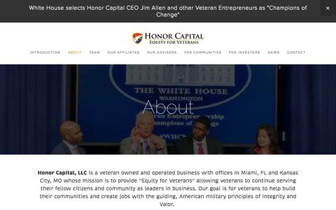 Screenshot of About Page honorcapitalllc.com - About — Honor Capital - captured Oct. 28, 2014
