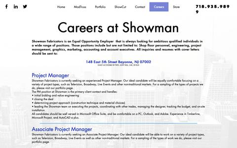 Screenshot of Jobs Page showfab.com - Showman Fabricators | Careers - captured Nov. 12, 2018