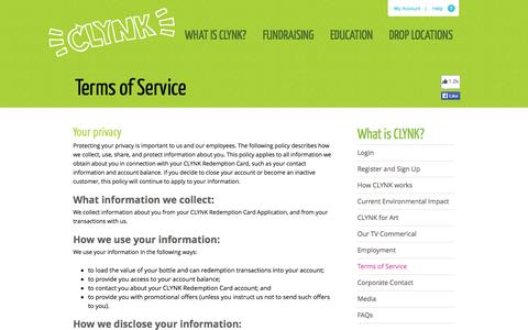 Screenshot of Terms Page clynk.com - Terms of Service - captured Sept. 26, 2014