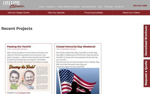 Screenshot of Blog lifetimeenclosures.com - Recent Projects - Lifetime Enclosures - captured July 19, 2018